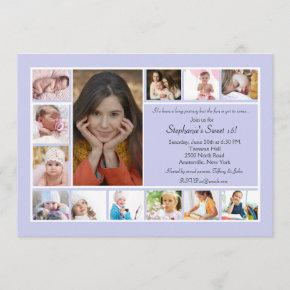 13 Photo Collage Vertical Blue Photo Invitation