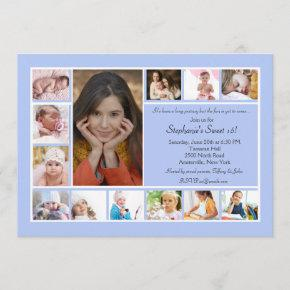 13 Photo Collage Vertical Blue Photo Invitation 2