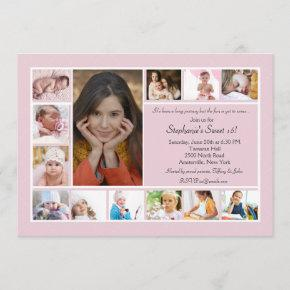 13 Photo Collage Vertical Photo Invitation