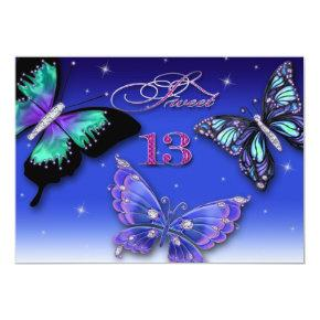 13TH BIRTHDAY PARTY INVITATION, Colorful Butterfly Invitation