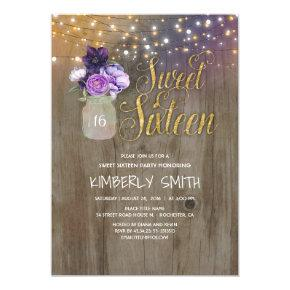 16 Birthday Party - Sweet Sixteen Mason Jar Purple Invitation