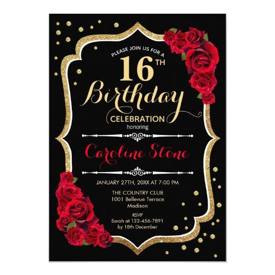 16th Birthday - Black Gold Red Roses Invitation