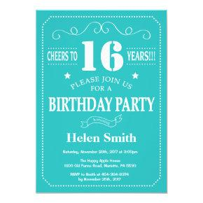 16th Birthday Invitation Teal and White
