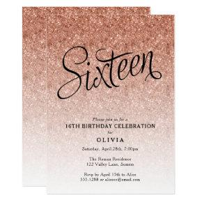 16th Birthday Rose Gold Ombre Glitter Invitation