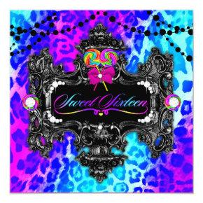 311 Candy Wonderland Leopard Sweet 16 Invitation