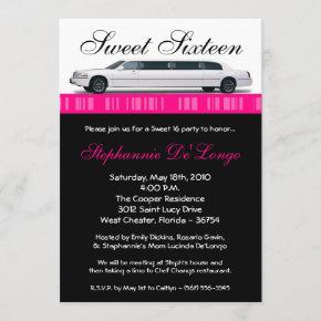 5x7 Hot Pink Limo Sweet 16 Birthday Invitation