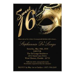 5x7 Masquerade Mask Sweet 16 Birthday Invitation