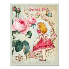 Alice in Wonderland Roses Collage Sweet 16 Invitation