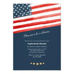 American Flag Military Retirement Party Invitation