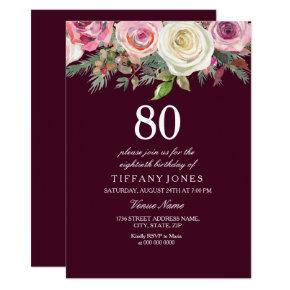 Any Age White Pink Rose Burgundy Birthday Invite