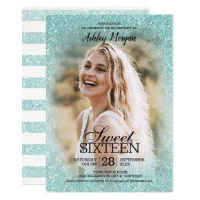 Aqua Blue Glitter Photo Template Sweet 16 Party