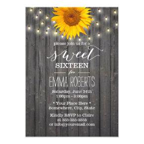 Barn Wood Sunflower & String Lights Sweet 16 Invitation