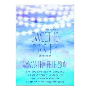 Beach blue watercolor string lights Sweet 16 Invitation