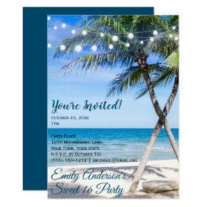 Beach String Light Palm Tree Sweet 16 Birthday Invitation