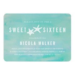 Beachy Aqua Watercolor & Starfish Sweet Sixteen Invitation
