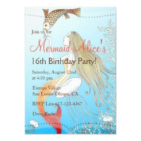 Beautiful Mermaid Sweet 16 Girl's Birthday Invite