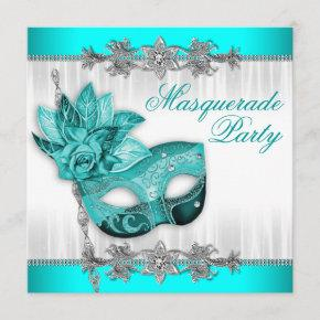 Beautiful Turquoise Blue Masquerade Party Invitation