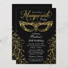 Black and Gold Masquerade Mask Party Invitation