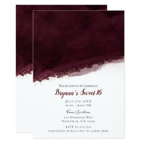 Black Cherry Watercolor Gold Modern Chic Sweet 16 Invitation