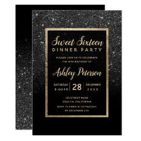 Black glitter gold typography Sweet 16 Invitation