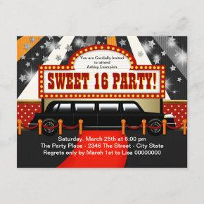 Black Limo Movie Star Sweet 16 Party Invitation
