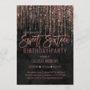 Black Rose Gold Glitter Pearl Marble Sweet 16 Invitation