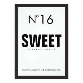 Black & White PARIS Theme SWEET SIXTEEN 16 PARTY Invitation