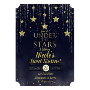 Blue & Gold Under The Stars Starry Sweet 16 Invitation