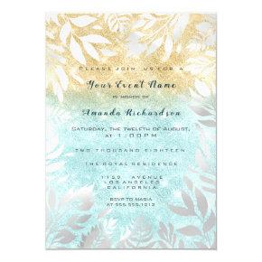 Blue Ocean Gold Glitter Ombre Floral Sparkly White Invitation