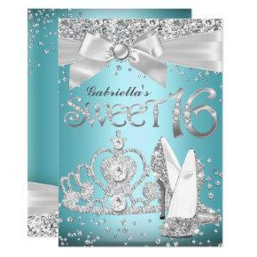 Blue Sparkle Tiara & Heels Sweet 16 Invite