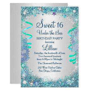 Blue Under The Sea Sweet 16 Invitation