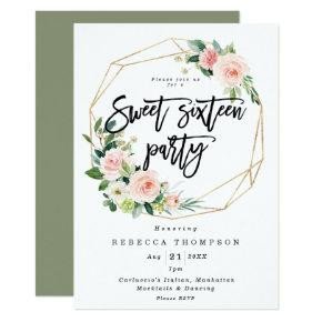 blush and greenery boho modern sweet 16 invitation