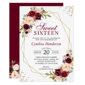 Blush Burgundy Floral Gold Frame Sweet Sixteen 16 Invitation