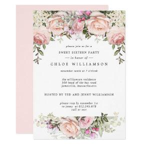 Blush Pink Floral Sweet Sixteen Party Invitation