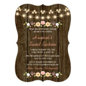 Blush String of Lights Rustic Sweet 16 Invitation