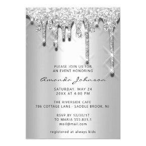 Bridal Shower Birthday 16th Silver Gray 3D Drips Invitation