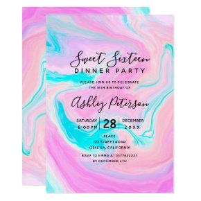 Bright pastel pink marble psychedelic Sweet 16 Invitation