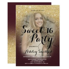 Burgundy gold glitter ombre fancy photo Sweet 16 Invitation
