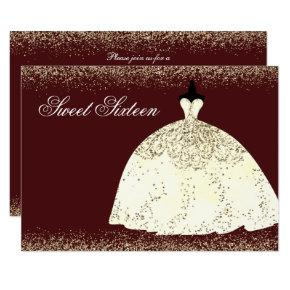 Burgundy Golden Dress Glitter Sweet 16 Invite