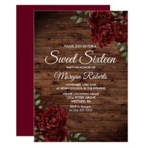 Burgundy Red Rose Rustic Wood Sweet 16 Invite