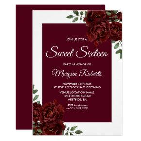 Burgundy Rose White Border Sweet 16 Invite