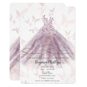 Butterfly Dance Mauve Sparkle Dress Sweet 16 Party Invitation