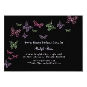 Butterfly Kisses Sweet Sixteen Invitation