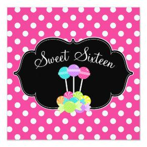 Candy Pink Polka Dot Sweet 16 Birthday Invitations