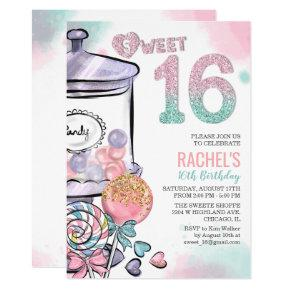 Candy Theme Sweet 16 Birthday Invitation