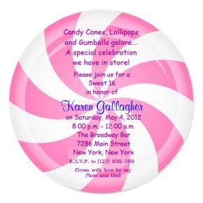 Candyland Candy Theme Lollipop Sweet 16 Invite