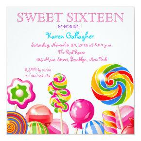 Candy Sweet 16 Invitations Sweet Sixteen Invitations