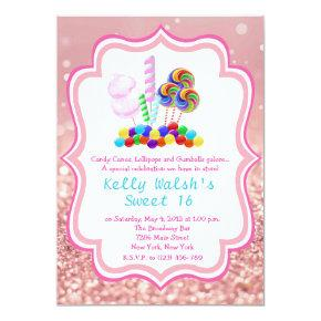 Candyland Rose Gold Glitter Sweet 16 Invitation