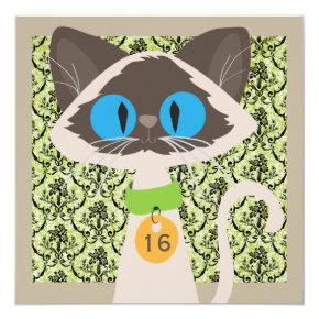 Cartoon Siamese Cat Any Age Birthday Party Invitation