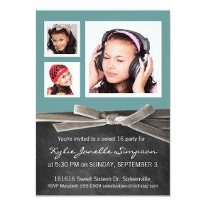 Chalkboard Sweet 16 with 3 Photos Invitation
